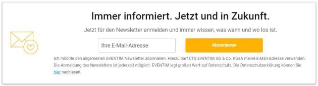 eventim gutschein newsletter anmelden website