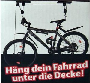 fahrrad lift f r 14 99 euro aus den augen an die decke. Black Bedroom Furniture Sets. Home Design Ideas