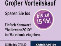Karstadt: Vorteilskauf mit Halloween-Rabatt von bis zu 15%