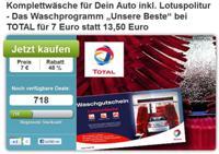 DailyDeal: Komplettwäsche fürs Auto bei TOTAL nur 7€ statt 13,50€
