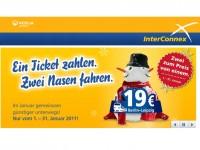 InterConnex: Zwei Tickets zum Preis von einem – Nur vom 01.01. bis 31.01.2012