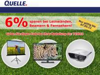 Quelle: 6% Rabatt auf alle Fernseher, Beamer und Leinwände (nur bis 07.05.)