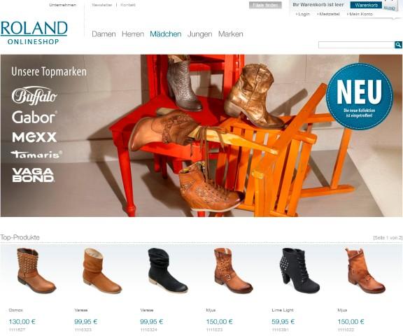 Top-Marken bei Roland Schuhe (Screenshot 24.01.13)