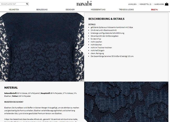 Navabi Gutschein Shopseite