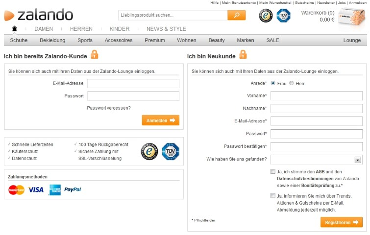 Nach dem Einloggen oder Registrieren stehen alle Zalando Vorteile offen.