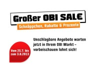 Großer Sale in allen OBI Baumärkten noch bis zum 03.08.