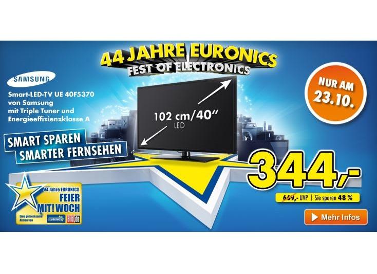 euronics feiert 44 jahre samsung led tv f r g nstige 344. Black Bedroom Furniture Sets. Home Design Ideas