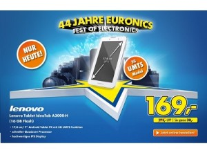 44 Jahre Euronics: Lenovo Tablet Ideapad A3000 für nur 169 Euro