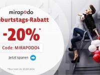 Mirapodo-Gutschein: 20 % Rabatt auf das gesamte Sortiment