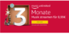 Amazon Music Unlimited: 3 Monate Probe Abo für 0,99 Euro