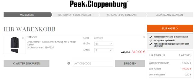 Peek & Cloppenburg Gutscheineinlösen