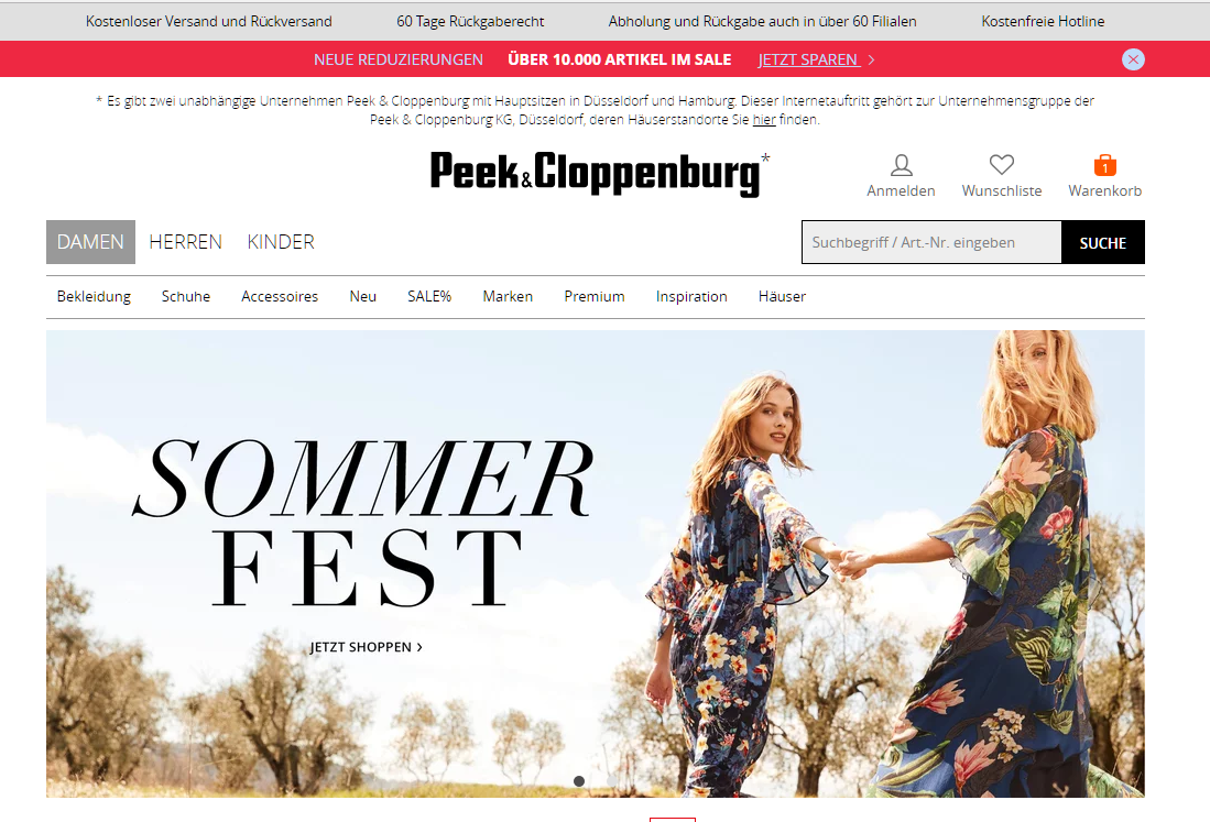 Peek & Cloppenburg Gutschein Website
