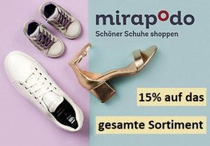 Der mirapodo Neukundenrabatt – 15% auf alle Schuhe im Sortiment!