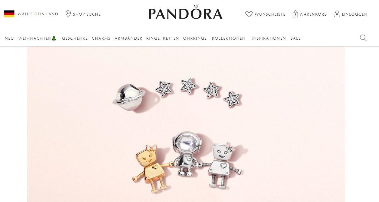 Pandora Gutschein homepage