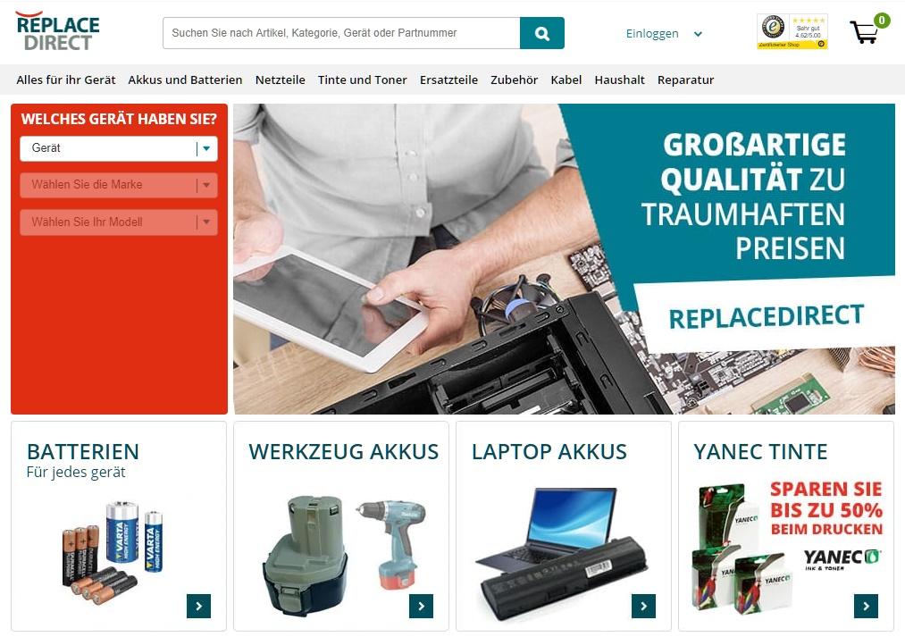 ReplaceDirect.de Gutschein Startseite