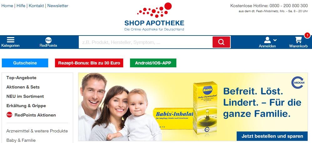 Shop-Apotheke Gutschein homepage