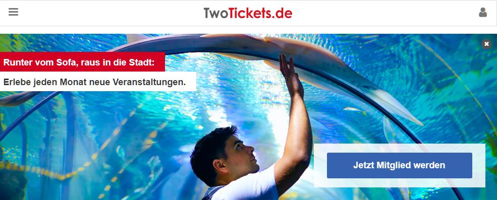 TwoTickets.de Gutschein Startseite