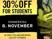 Levi´s Student Shopping Event am 08.11.2018: 30% in Levi's Stores