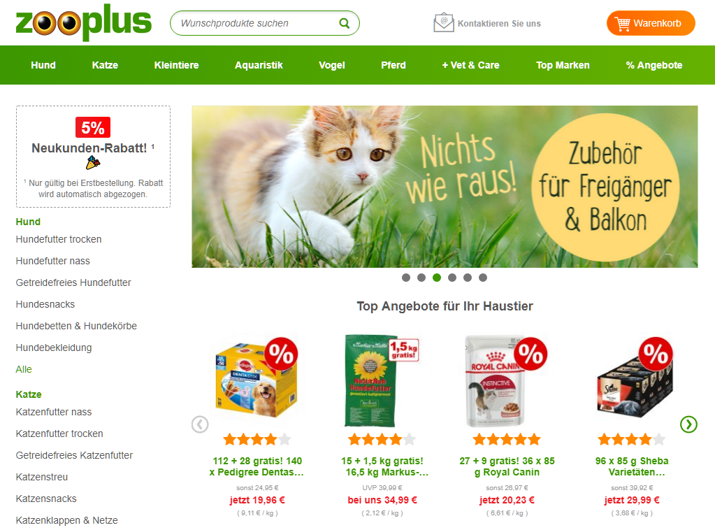 Zooplus Gutschein Startseite
