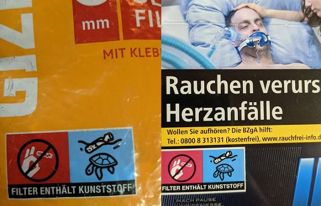 Zigaretten richtig entsorgen - Filter mit Kunststoff