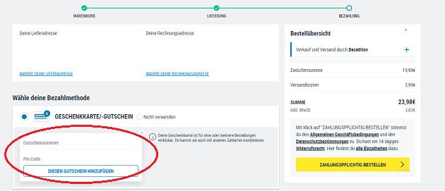 rabattcode einlösen website