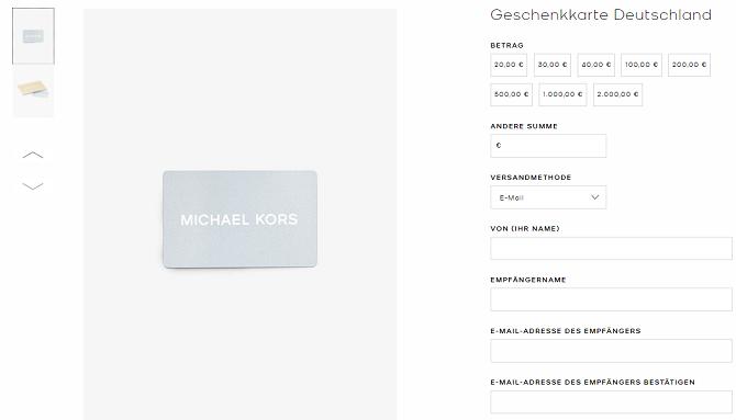 michael kors geschenkgutschein website