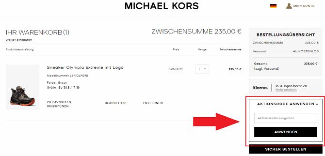 website gutschein anwenden michael kors