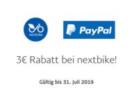 nextbike Fahrradverleih: Mit PayPal 3 Stunden kostenlos fahren