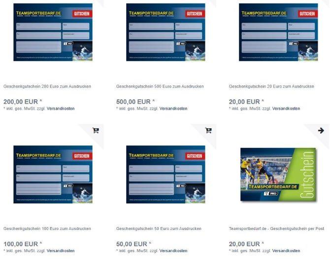 teamsportbedarf website geschenkgutschein kaufen