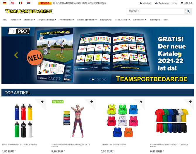 teamsportbedarf gutschein website