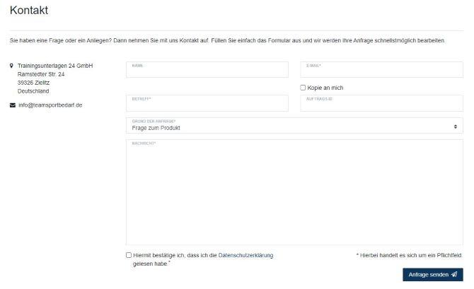 teamsportbedarf website kundensupport