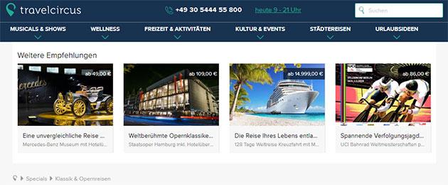 Travelcircus Webseite