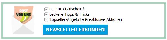 5€ Gutschein für die Newsletteranmeldung